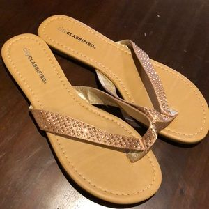 City classified satin sequined flip-flops size 9